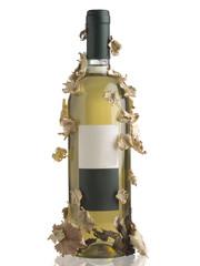 Bottiglia di vino bianco con decorazioni