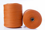 Rolls of red polyester rope - close up poster