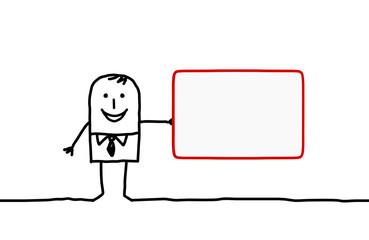 man & blank card