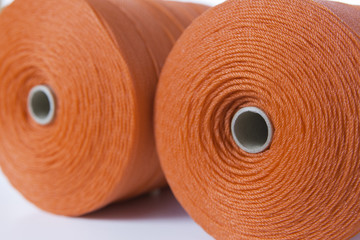 Close up of rolls of red polyester rope