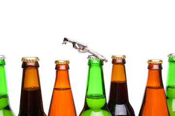 Top bottles of beer and a opener