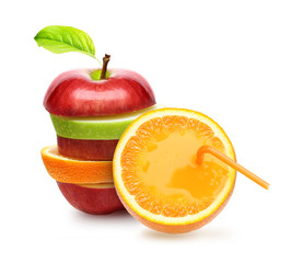 Apples and orange fruit slice with juce isolated