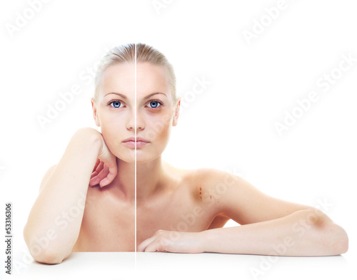 Beautiful woman's portrait isolated on white, before and after