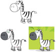 Smiling Zebra Cartoon Mascot Character.Collection Set