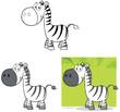 Smiling Zebra Cartoon Mascot Character.Collection Set