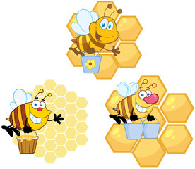 Bee Carrying Honey With Hive Background.Collection