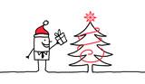 Fototapety man & Christmas tree