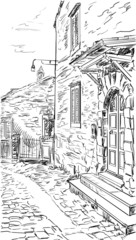 Street in Tuscany -sketch  illustration
