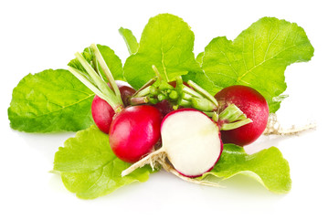 fresh juicy radish with green leaves