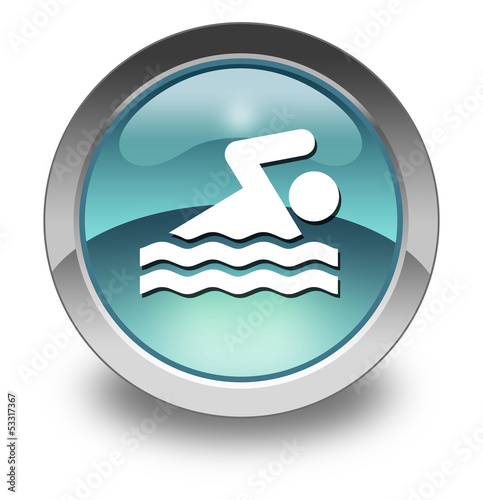 "Light Blue Glossy Pictogram ""Swimming"""