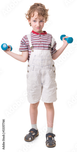 boy with a dumbbell