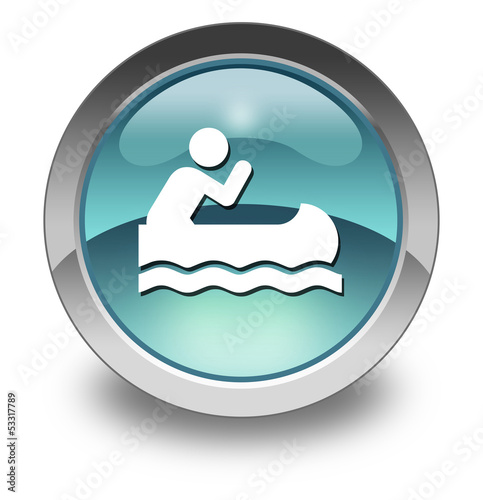 """Light Blue Glossy Pictogram """"Canoeing"""""""