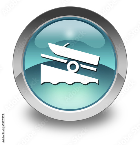 "Light Blue Glossy Pictogram ""Boat Ramp"""