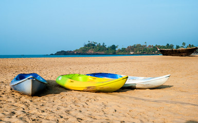 Boats on the beach, Goa, India