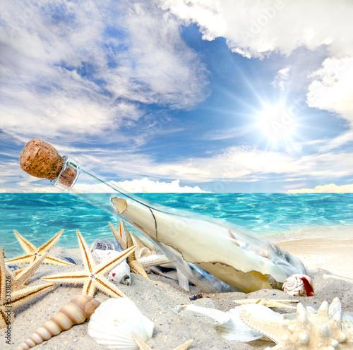 Gute Reise: Flaschenpost, angespült an Strand - 53318126