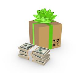 Carton box and stack of dollars.