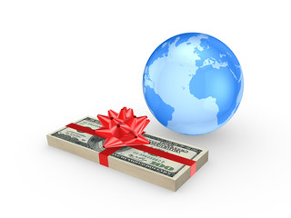 Stack of euro and globe.