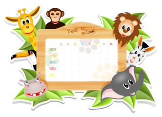 school timetable with animals