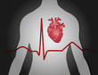 Medizin Hintergrund mit Mann Herz und EKG