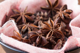 Few star-anis seeds on a bowl