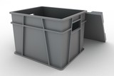 3d illustration open plastic container with a lid