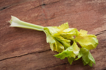 Celery twig on wooden table