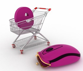 shopping cart and hybrid of computer mouse