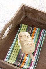 White chocolate ice-cream on a stick