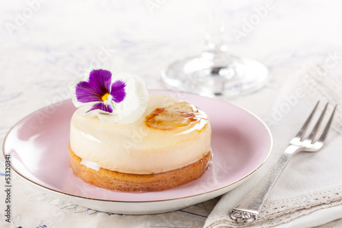 Fancy individual white chocolate cake