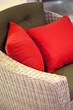 Coussins, fauteuil, osier, détente, mobilier, maison