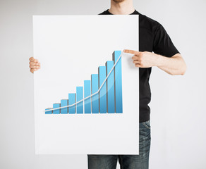 man holding board with 3d graph