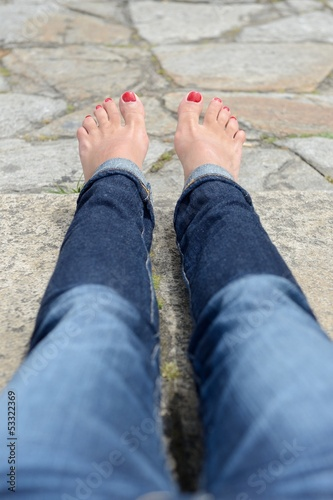 Female feet with pedicure close up