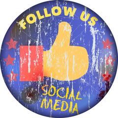 Social media sign, vintage style, vector illustration