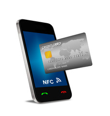 smartphone with Near Field Communication (NFC) showing a credit
