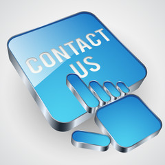 Contact us vector button with blue hand cursor
