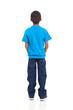 Leinwanddruck Bild - rear view of african american boy