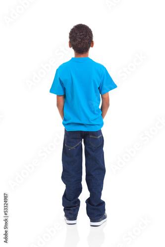 Leinwanddruck Bild rear view of african american boy