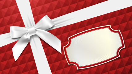 White bow on a red textured background