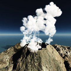 Volcanic eruption on the island