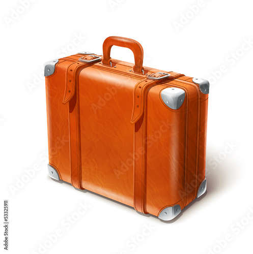 leather big suitcase vector illustration isolated on white