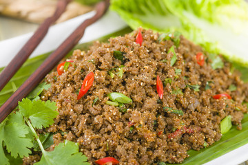 Larb - Lao minced beef salad with ground toasted rice.
