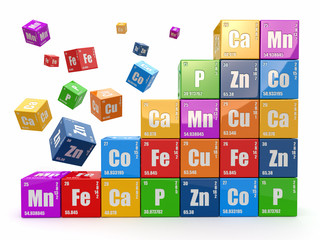 Chemistry concept. Wall from cubes wiyh periodic table of elemen