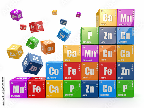 Chemistry concept. Wall from cubes wiyh periodic table of elemen - 53327717