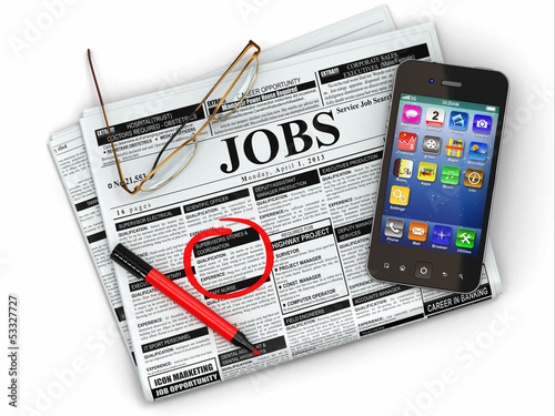 Search job. Newspaper with advertisments, glasses and mobile.