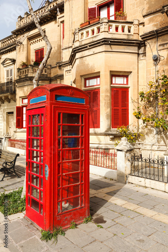 English telephone box on a summer