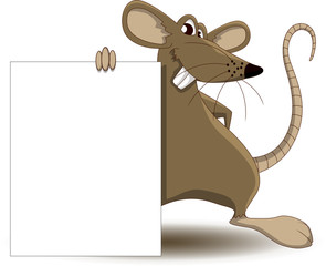 cute mouse cartoon with blank sign