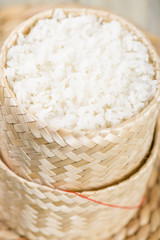 Khao Niao - Sticky rice in a traditional Lao/Thai bamboo basket