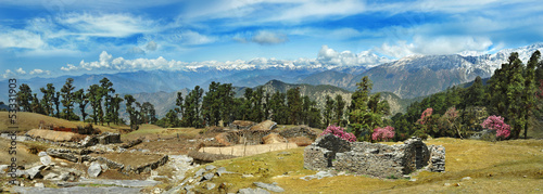 Alpine panorama of the Himalayas. India, Uttarakhand, Chopta.