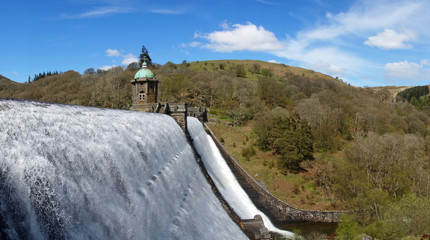 Penygarreg reservoir overflowing panorama, Elan Valley, Wales.