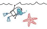 Fototapety diver & starfish